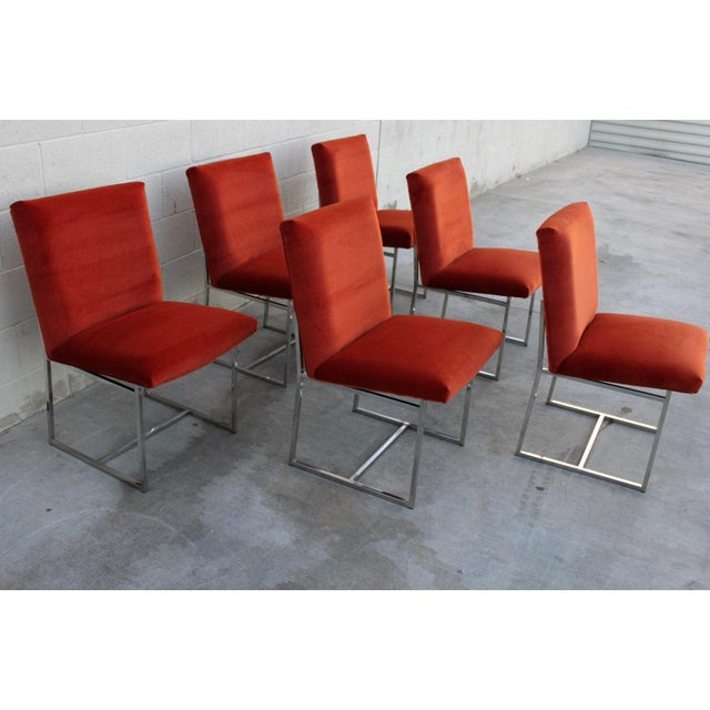 Set of six stunning Milo Baughman for Thayer Coggin dining chairs. Architectural chrome frames contrast beautifully with...