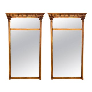 Gilt Gold Wall or Console Mirrors with Column Form Sides and Carved Tops - a Pair
