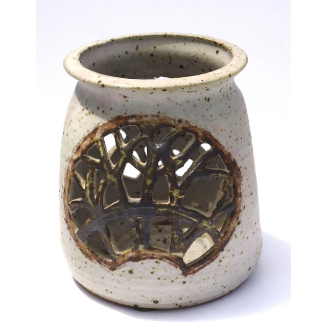 Vintage 1970s Pottery Reticulated Votive Holder - Image 3 of 6