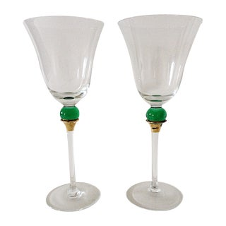 Green Ball Stemmed Flutes- A Pair