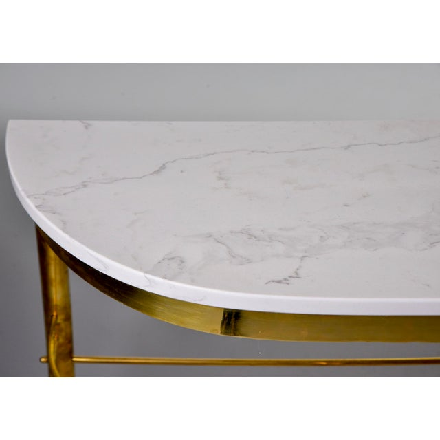 White Mid-Century Italian White Marble Top Console With Brass Base For Sale - Image 8 of 11