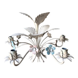 Vintage Italian Tole Chandelier - Blue and Pink For Sale