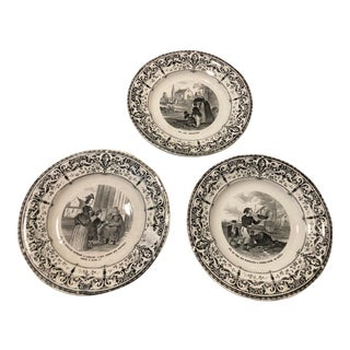 Late 19th Century Creil Montereau Transfer Ware Plates - Set of 3 For Sale