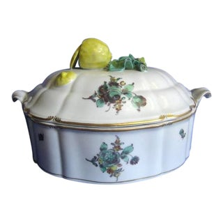 3-D Sliced Lemon Nymphenburg Gold Trim Covered Dish For Sale