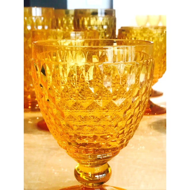 Vintage Crystal Amber Colored Wine Glasses by Villeroy & Boch, Set of Eight For Sale In Miami - Image 6 of 13
