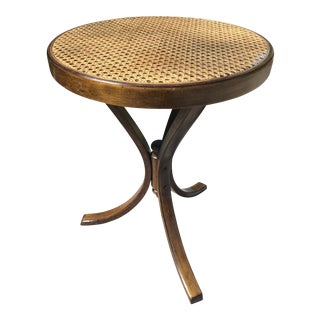 1950s Traditional Thronet Bentwood Cane Top Tripod Table / Plant Stand For Sale