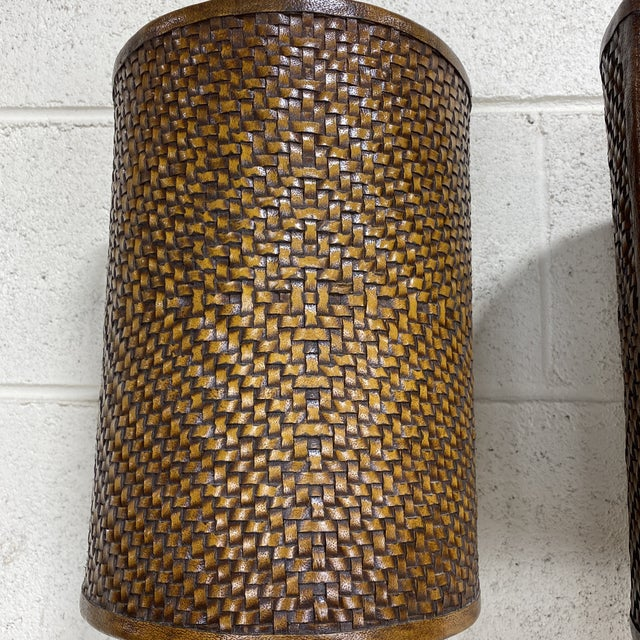Brown Theodore Alexander Leather Woven Buffet Lamps - a Pair For Sale - Image 8 of 13