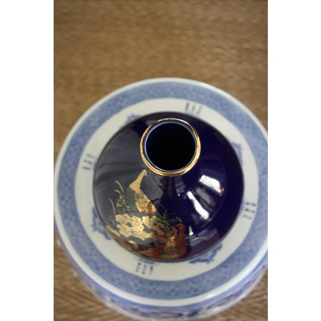 Vintage Cobalt Japanese Peacock Vase For Sale - Image 5 of 7