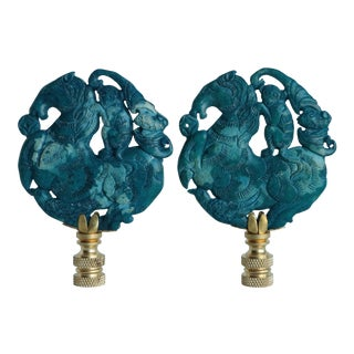 Equestrian Monkey Lamp Finials on Brass - a Pair For Sale