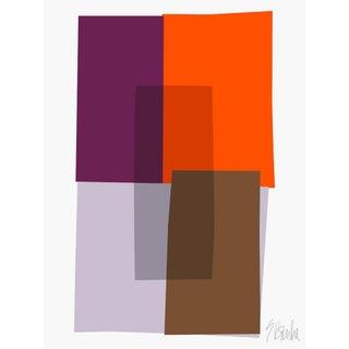 "Purple and Orange Collage Fine Art Print 42"" X 60"" by Liz Roache For Sale"