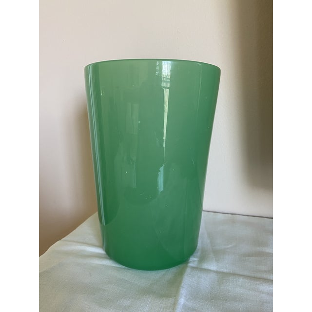 Green Opaque Hand-Blown Modern Glass Vase For Sale - Image 4 of 4