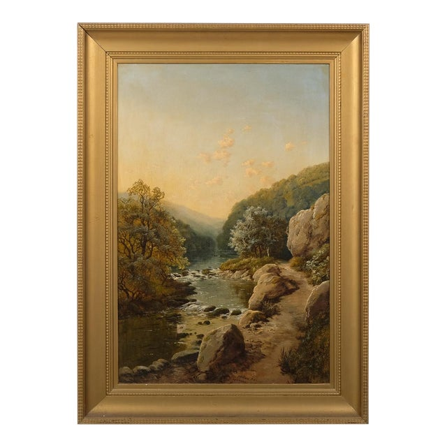 Landscape Featuring a Rocky River Scene by Edmund John Niemann, 1856 For Sale