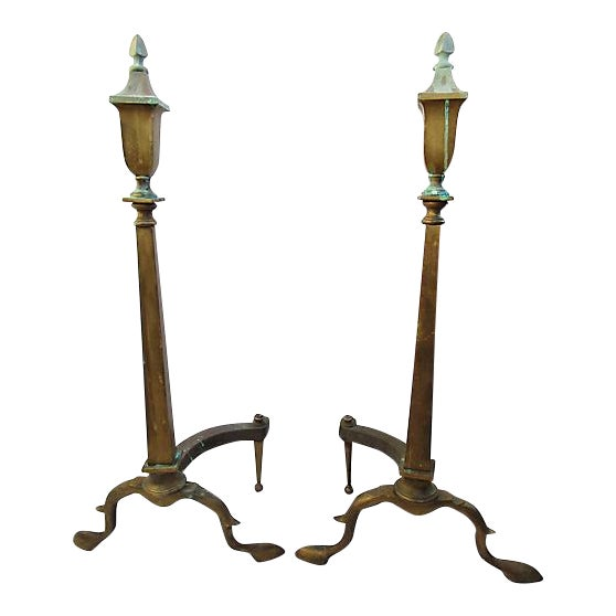 19th-C. French Bronze Andirons - Set of 2 For Sale