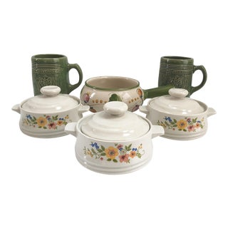 Vintage Mixed Serving Bowls and Majolica Mugs - Set of 6 For Sale