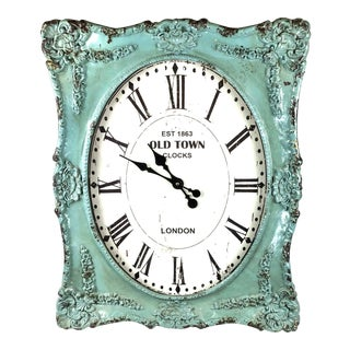 Cole & Grey Distressed Aqua Green Wall Clock For Sale