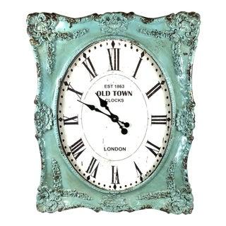 Cole & Grey Distressed Aqua Green Wall Clock