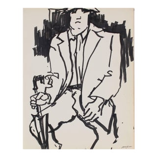 Pasquale Patrick Stigliani Mid 20th Century New York Subway Portrait Drawing in Ink, Circa 1960s For Sale