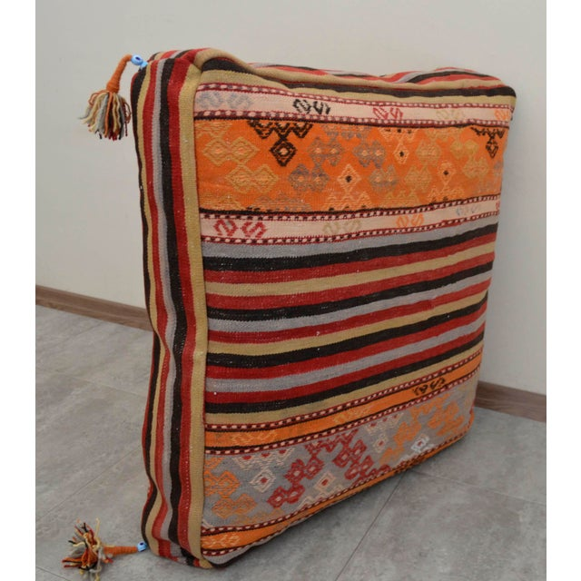 Boho Chic Turkish Hand Woven Floor Cushion Cover - 29″ X 29″ For Sale - Image 3 of 10