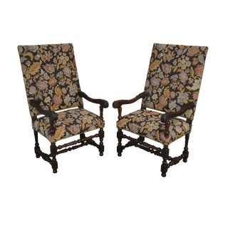 Antique 19th Century French Louis XIII Style Pair Walnut Throne Armchairs For Sale