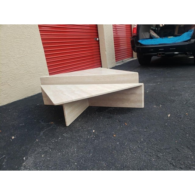 Post-Modern Italian Travertine Coffee Table - 2 Pieces For Sale In West Palm - Image 6 of 9