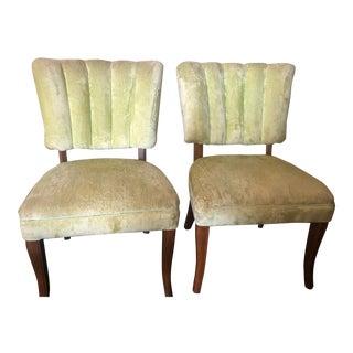 1940's Velvet Tufted Slipper Chairs - a Pair For Sale