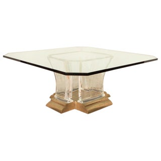 Glass Table With Lucite Base For Sale
