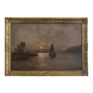 Openneer Framed Nautical Oil on Canvas Painting For Sale