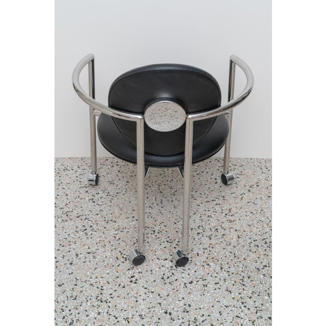 1980s Moon Chair in Black Leather and Chrome by Brueton For Sale In West Palm - Image 6 of 12