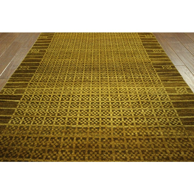 "Oriental Oushak Green Chobi Rug - 4'1"" x 6'7"" For Sale - Image 5 of 7"
