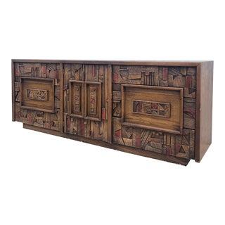Vintage Brutalist Style Lane Pueblo Lowboy Dresser For Sale