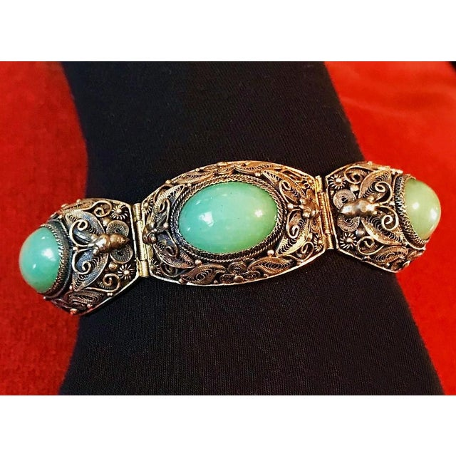 Mid-Century Chinese Gilt Sterling and Jade Bracelet For Sale - Image 4 of 8