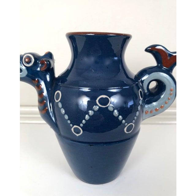 Blue English Art Pottery Longpark Dragon Pitcher For Sale - Image 8 of 11