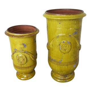 Two French Glazed Ceramic Urns For Sale