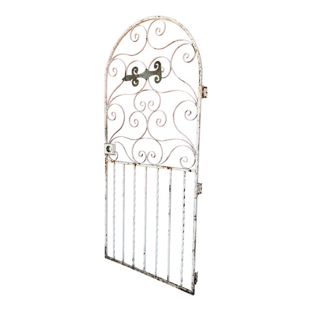 1940s Shabby Chic Rusty White Arched Wrought Iron Garden Fence For Sale