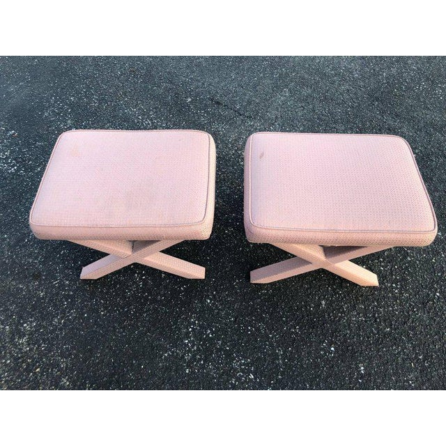 Hollywood Regency 1970s Hollywood Regency Billy Baldwin Style X-Base Stools - a Pair For Sale - Image 3 of 12