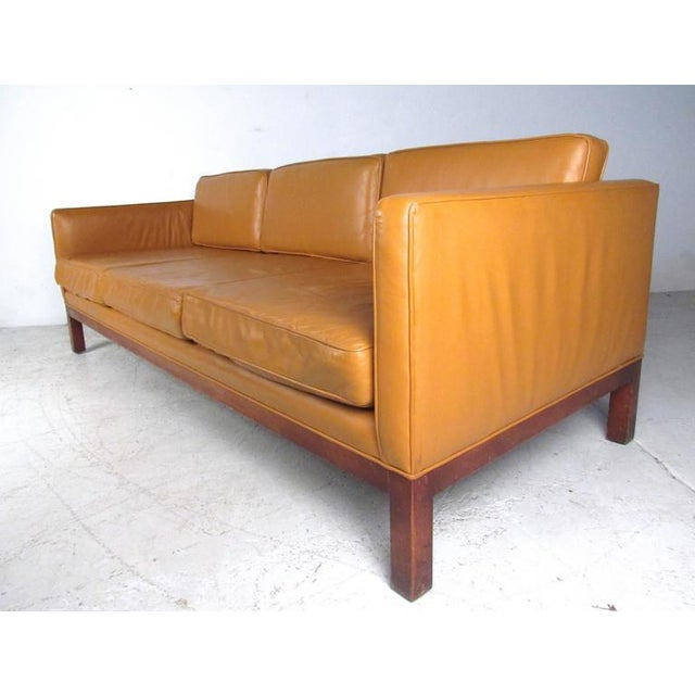Orange Scandinavian Modern Leather Sofa After Børge Mogensen For Sale - Image 8 of 8