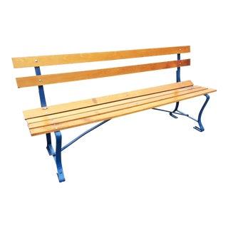 Vintage Wood Slat Park Bench with Blue Metal Accents