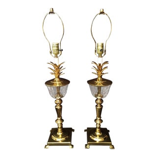 Bombay Company Hollywood Regency Brass Pineapple Crystal Buffet Lamps - a Pair
