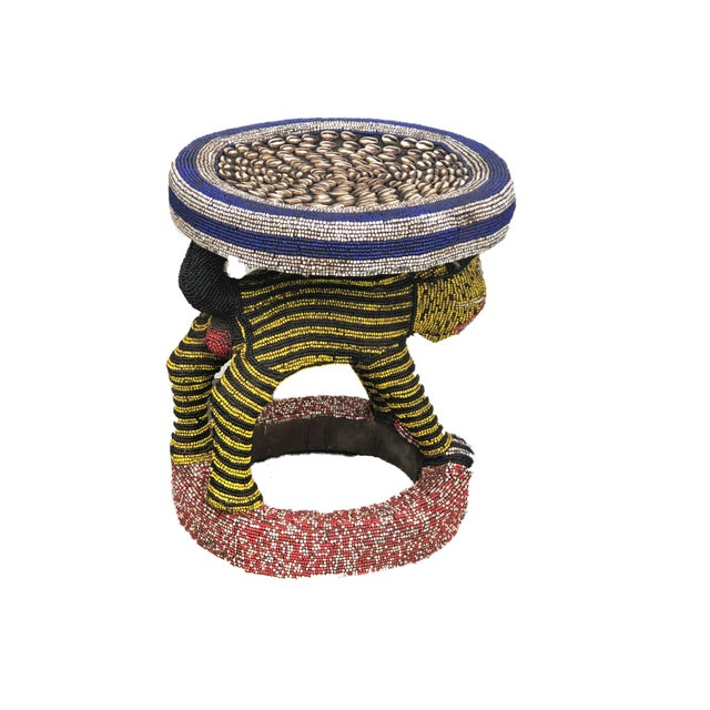 """Yellow Lg African Beaded Wood Bamileke Stool /Table Cameroon 18.25'""""h For Sale - Image 8 of 9"""