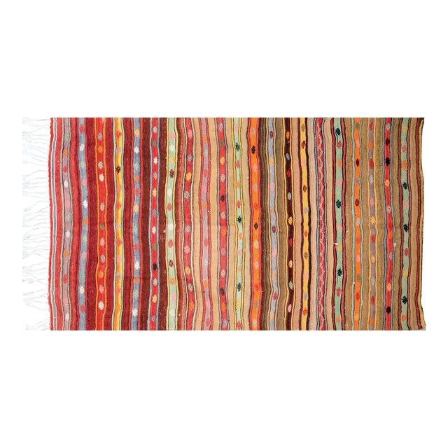 "Vintage Turkish Anatolian Hand Knotted Organic Wool Fine Weave Kilim,5'x8'5"" For Sale"
