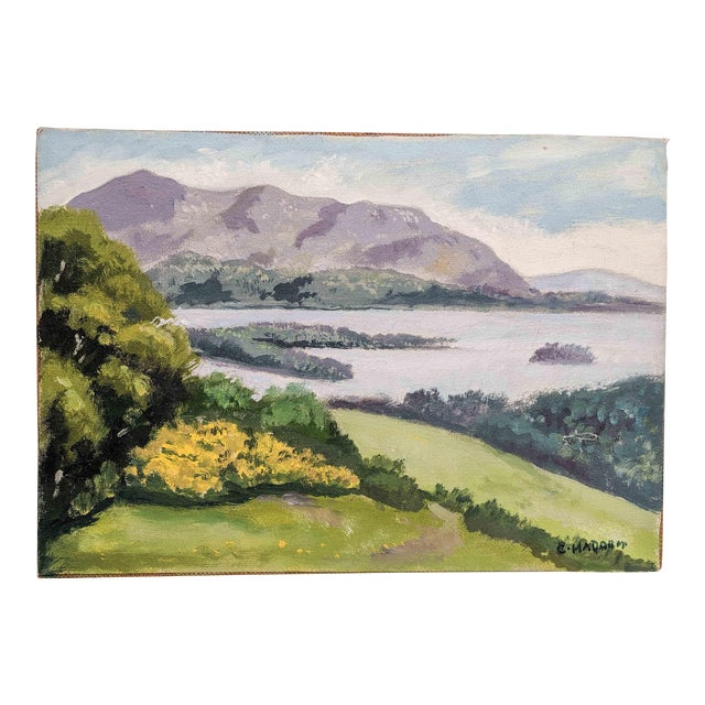 Picturesque Vintage Oil Landscape Painting of Mountains and Lake Scene, Signed by Artist C. Madahm For Sale