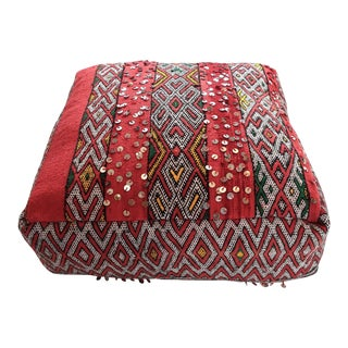 Vintage Moroccan Textile Floor Cushion For Sale
