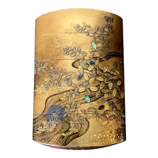 Fine Japanese Lacquered Inro with Inlays by Kajikawa For Sale