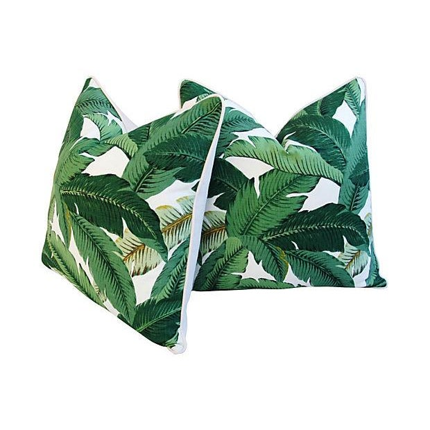 Pair of large custom-tailored pillows in a vintage/never used iconic tropical banana leaf print fabric. Pillow backs are a...