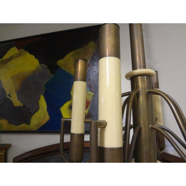 1960s Italian Brutalist Brass and Bakelite Chandelier by Nucleo Forme For Sale - Image 5 of 13