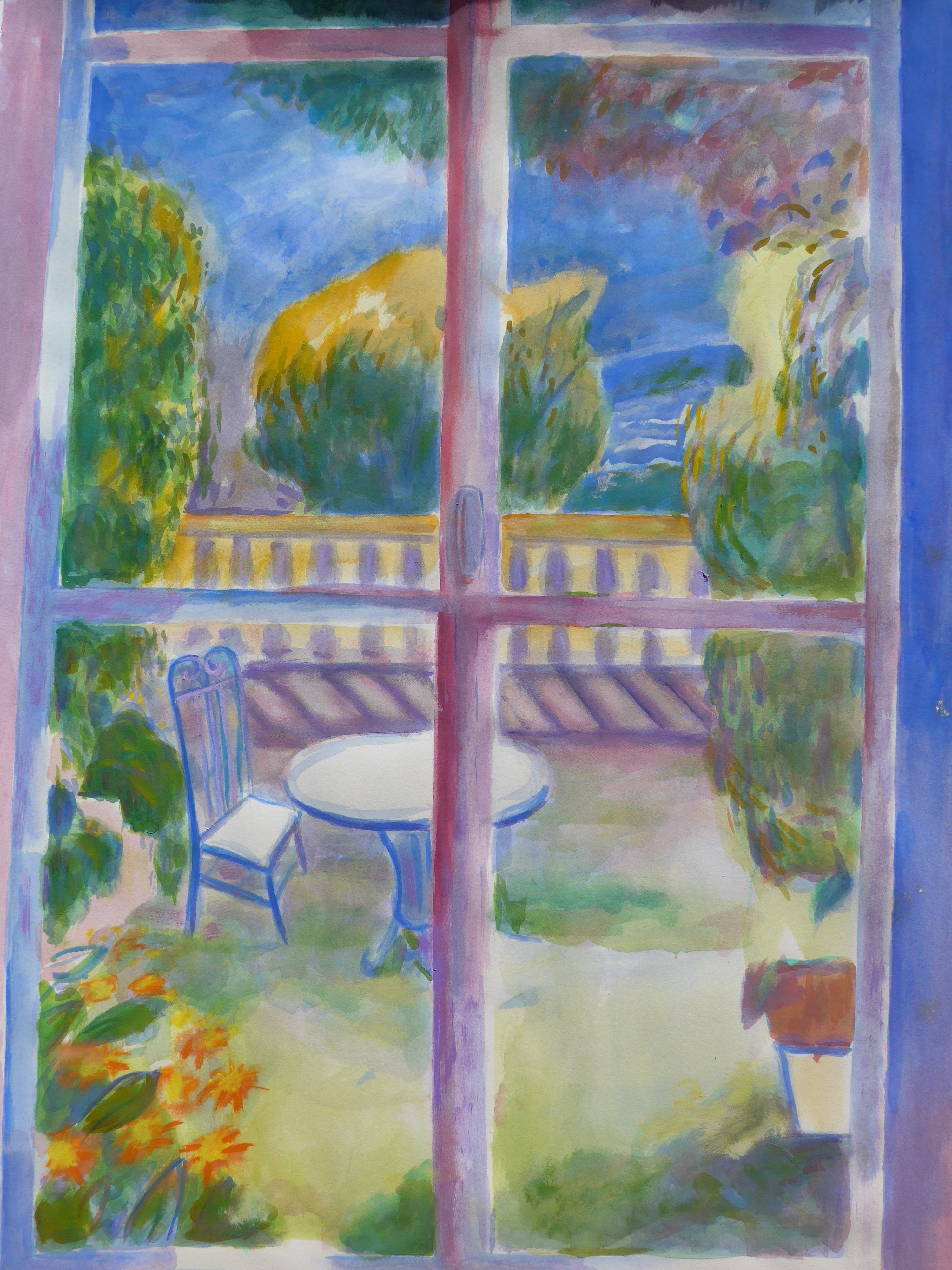Window To The Terrace Plein Air Painting Chairish