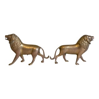 Brass Lion Figurines - A Pair