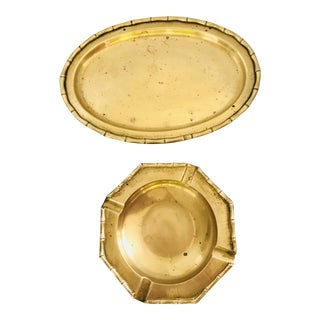 Vintage Faux Bamboo Brass Serving Tray and Ashtray - a Pair For Sale