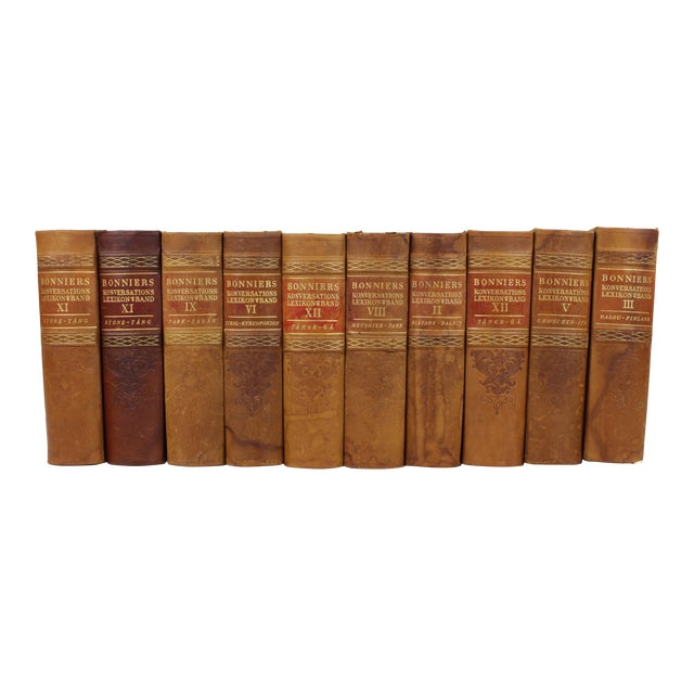 Art Deco Leather-Bound Books - Set of 10 - Image 1 of 4