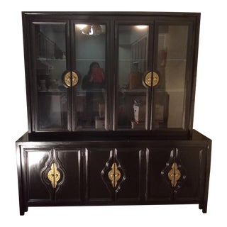 Century Furniture Black Solid Wood China Cabinet For Sale